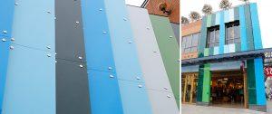back painted glass panels lulelemon store exterior
