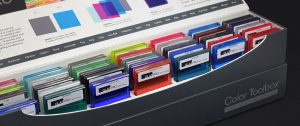 GlasPro colored laminated glass samples in a color toolbox