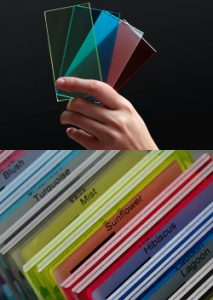 Colored laminated glass samples from Surface Products in Vancouver