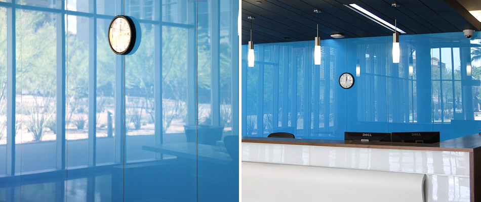 Blue back painted glass in an office
