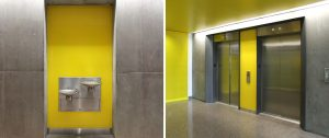 Yellow back painted colored glass banner 3