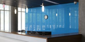 Blue Back painted colored glass wall featured