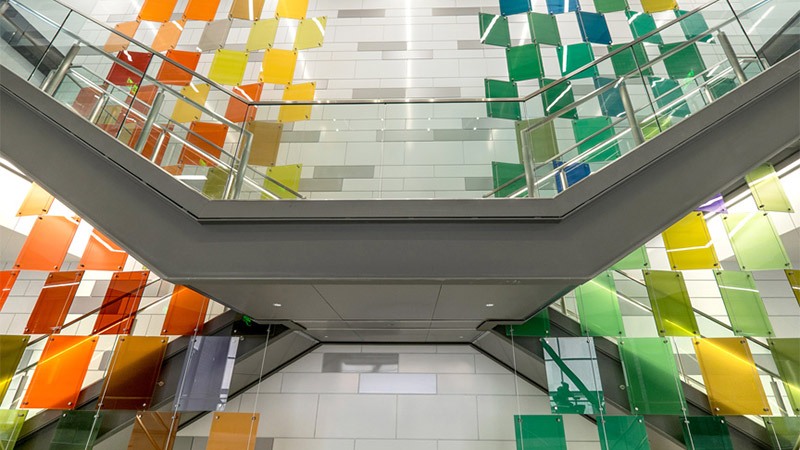 Colored laminated glass on staircase