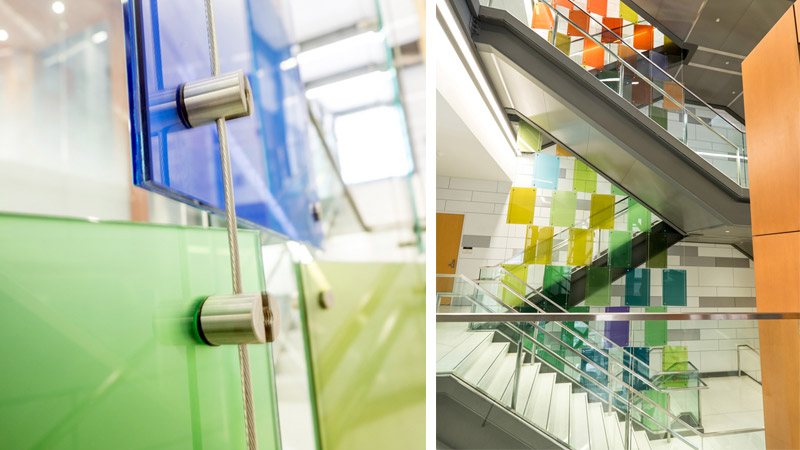 surface products glaspro michigan state university laminated colored glass 3