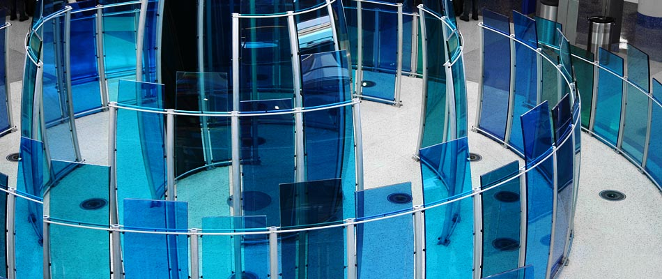 surface products laminated curved colored glass Dallas Airport 1