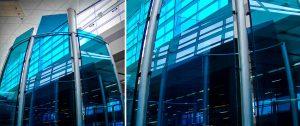 surface products laminated curved colored glass Dallas Airport 2