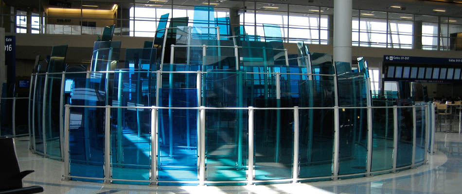 surface products laminated curved colored glass Dallas Airport 3