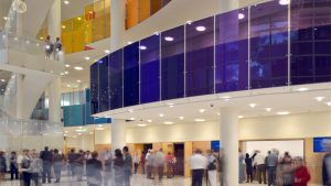 Colored laminated glass in the Performing Arts Center in Utah