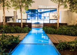 Custom textured, non skid glass surface in the Telus Garden, Vancouver BC