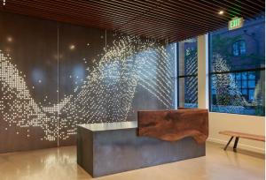 metal wall laser cut Backlit metal reception