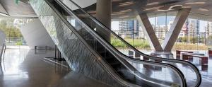 frp panels benefits image of graphics on escalator